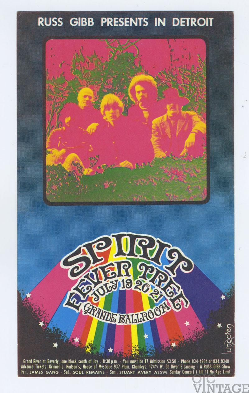 Grande Ballroom Postcard 1968 Jul 19 Spirit James Gang Sou Remains