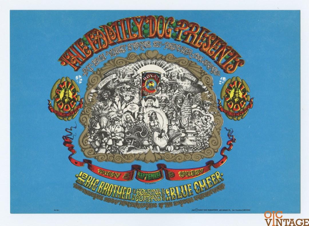 Family Dog 079 Denver 01 Postcard Denver Opening Handbill Big Brother & Holding 1967 Sep 8