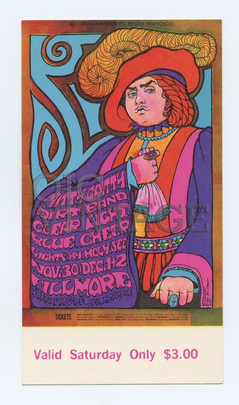 BG 95 Ticket Nitty Gritty Dirt Band Blue Cheer 1967 Nov 30