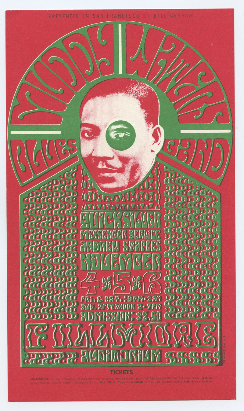 Bill Graham 035 Postcard Muddy Waters Blues Quicksilver Messenger 1966 Nov 4