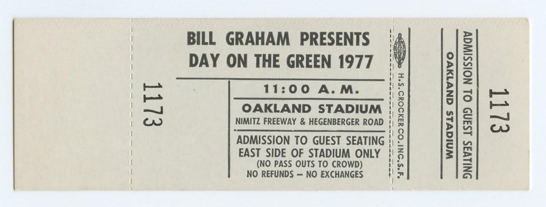 Bill Graham Unused Ticket 1977 Jul 2 Day on the Green Oakland Stadium