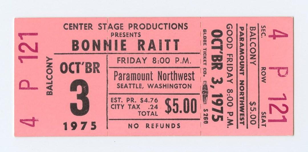 Bonnie Raitt Ticket 1975 Oct 3 Paramount Northwest Seattle Unused