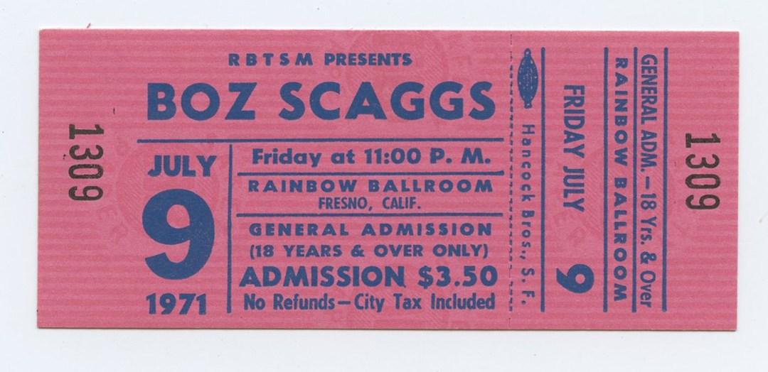 Boz Scaggs Ticket 1971 Jul 9 Rainbow Ballroom Fresno CA Unused