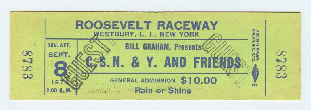 Crosby Stills Nash and Young Ticket Roosvelt Raceway NY 1974 Sep 8