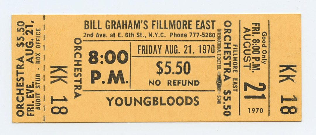 Bill Graham Fillmore East Ticket YOUNGBLOOLDS 1970 Aug 21