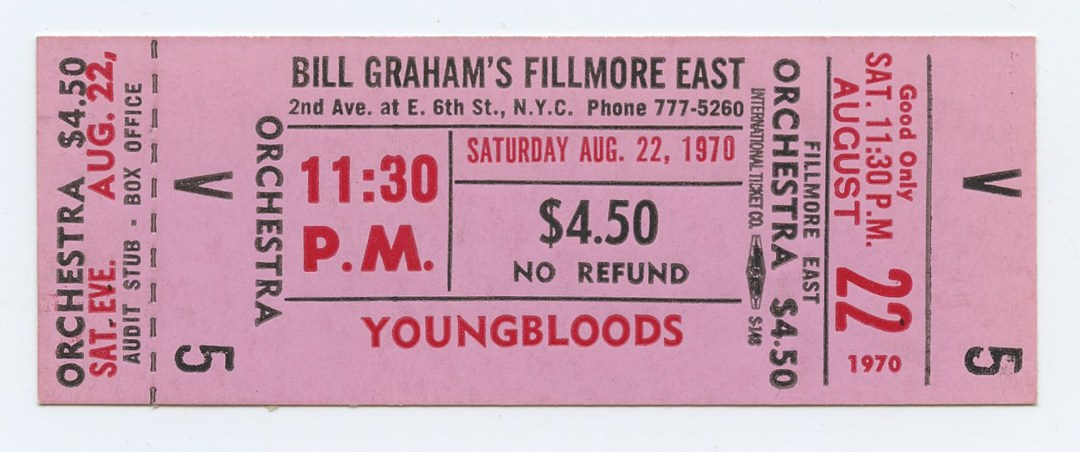 Bill Graham Fillmore East Ticket YOUNGBLOOLDS 1970 Aug 22 11:30PM Unused