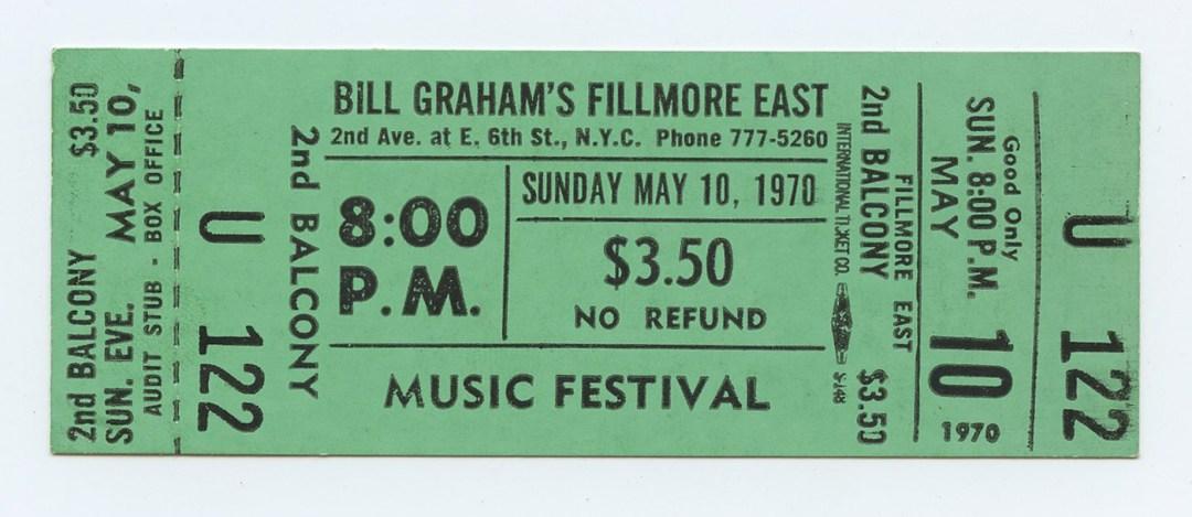 Bill Graham Fillmore East Ticket MUSIC FESTIVAL 1970 May 10 8PM Unused