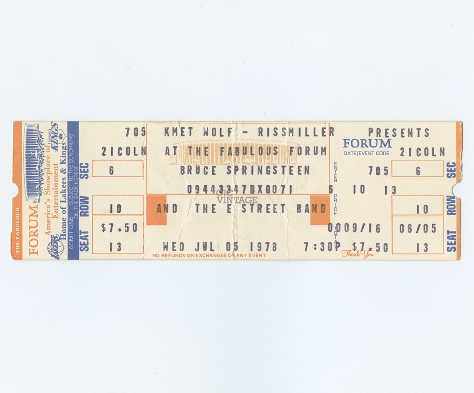 Bruce Springsteen Ticket 1978 Jul 5 the fabulous Forum Unused