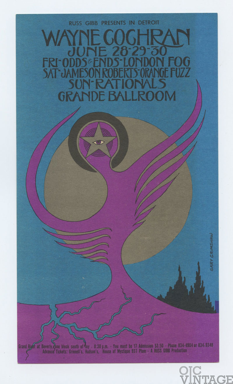 Grande Ballroom Postcard 1968 Jun 28 Wayne Cochran Odds & Endss