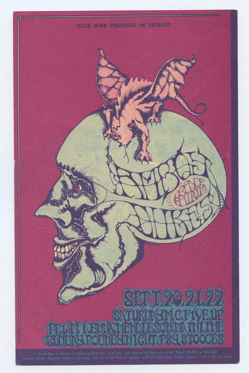 Grande Ballroom Postcard 1968 Sep 20 Amboy Duke MC5