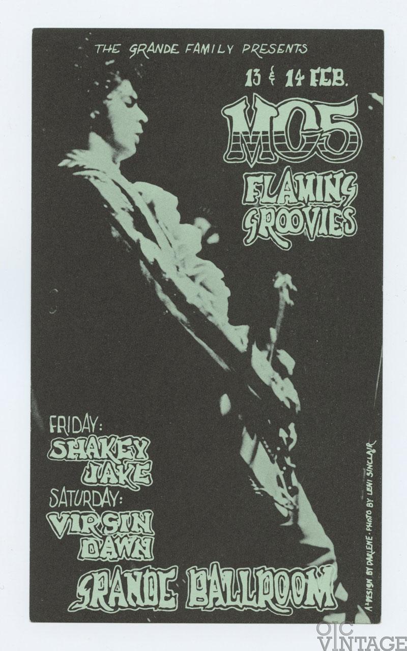 Grande Ballroom Postcard 1970 Feb 13 MC5 Flaming Groovies Shake Jake
