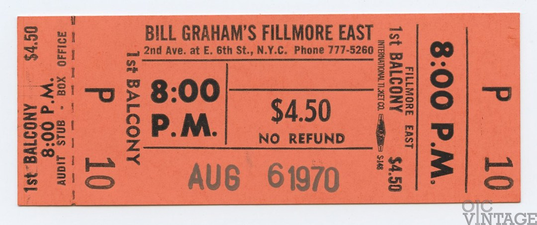 Bill Graham Fillmore East Ticket 1970 Aug 6 cancelled Concert Unsued