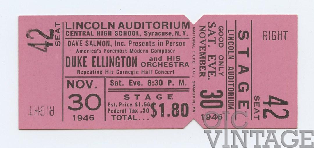 Duke Ellington Ticket 1946 Nov 30 New York Unused