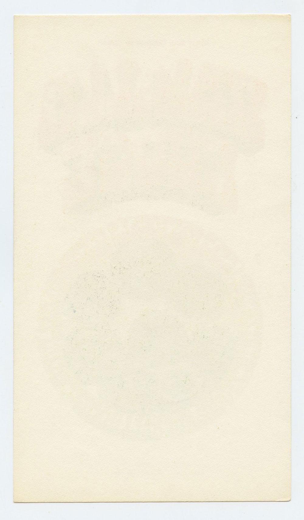 Grande Ballroom Postcard 1967 Dec 15 Vanilla Fudge MC5 Blank Back