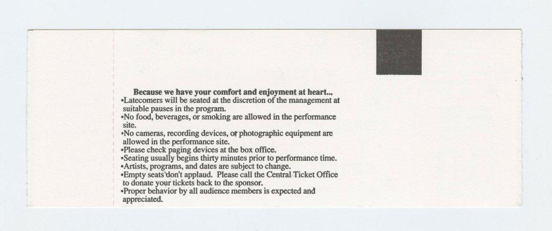 Allman Brothers Band Ticket 1995 Nov 10 Williams Arena Minges CO Unused