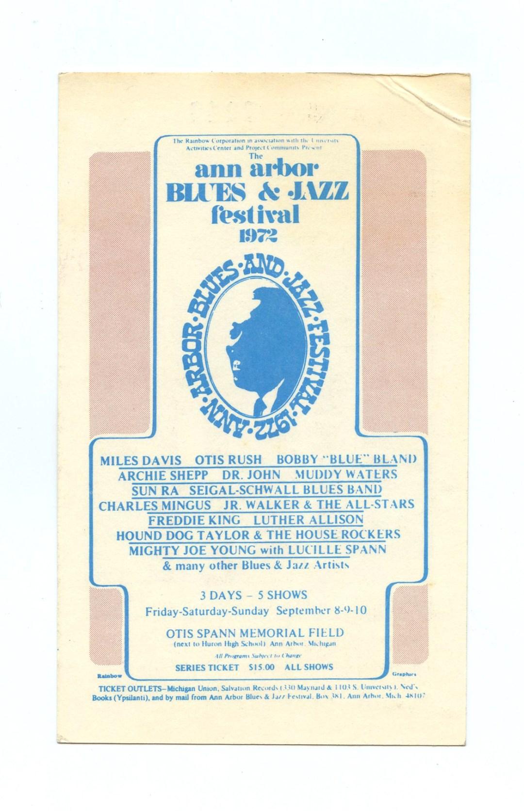 Ann Arbor Blues & Jazz Festival Ticket 1972 Sep 8