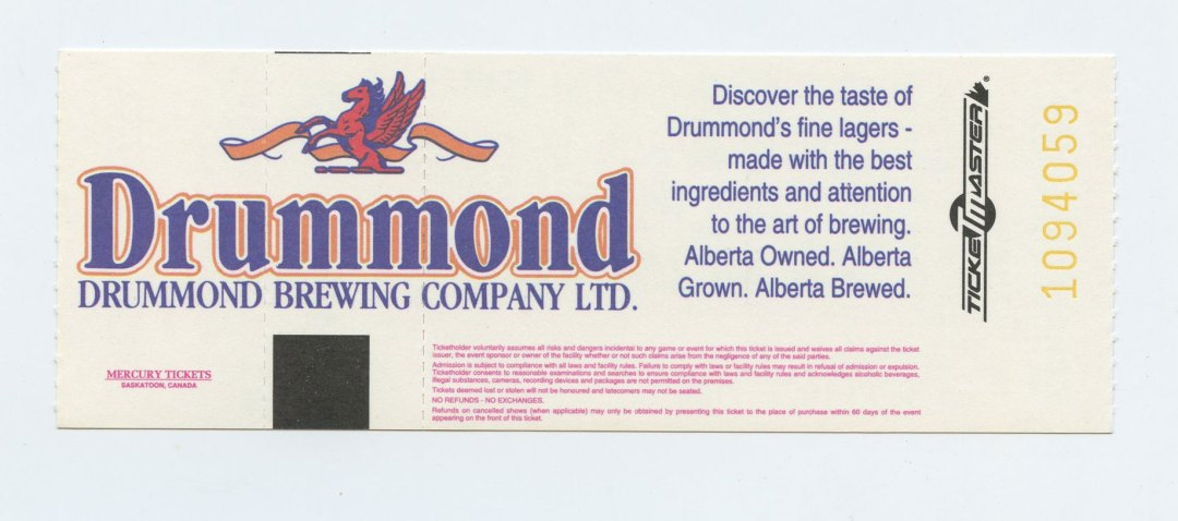 Allman Brothers Band Ticket 1994 Nov 2 Edmonton Convention Centre Canada Unused