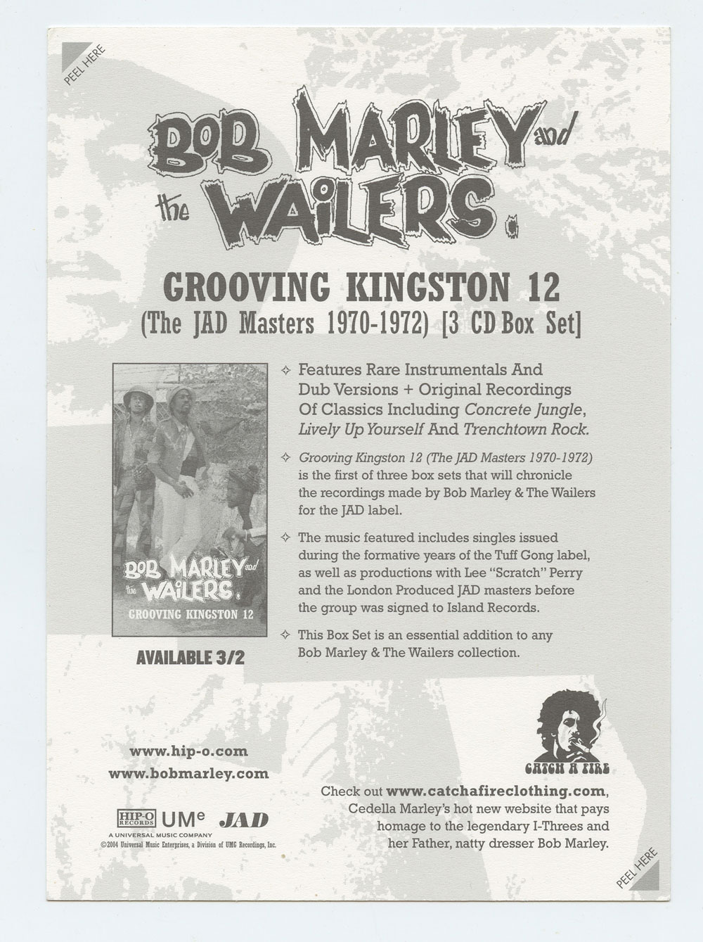 Bob Marley Sticker Grooving Kingston 12 Promo 2004