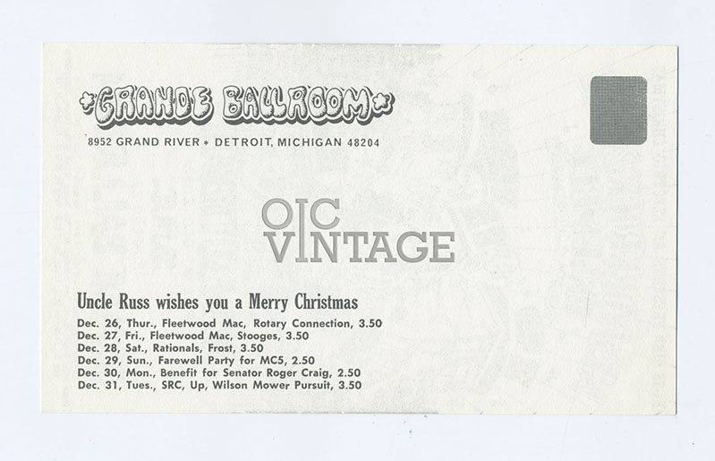 Grande Ballroom Postcard 1968 Dec 20 Iron butterfly