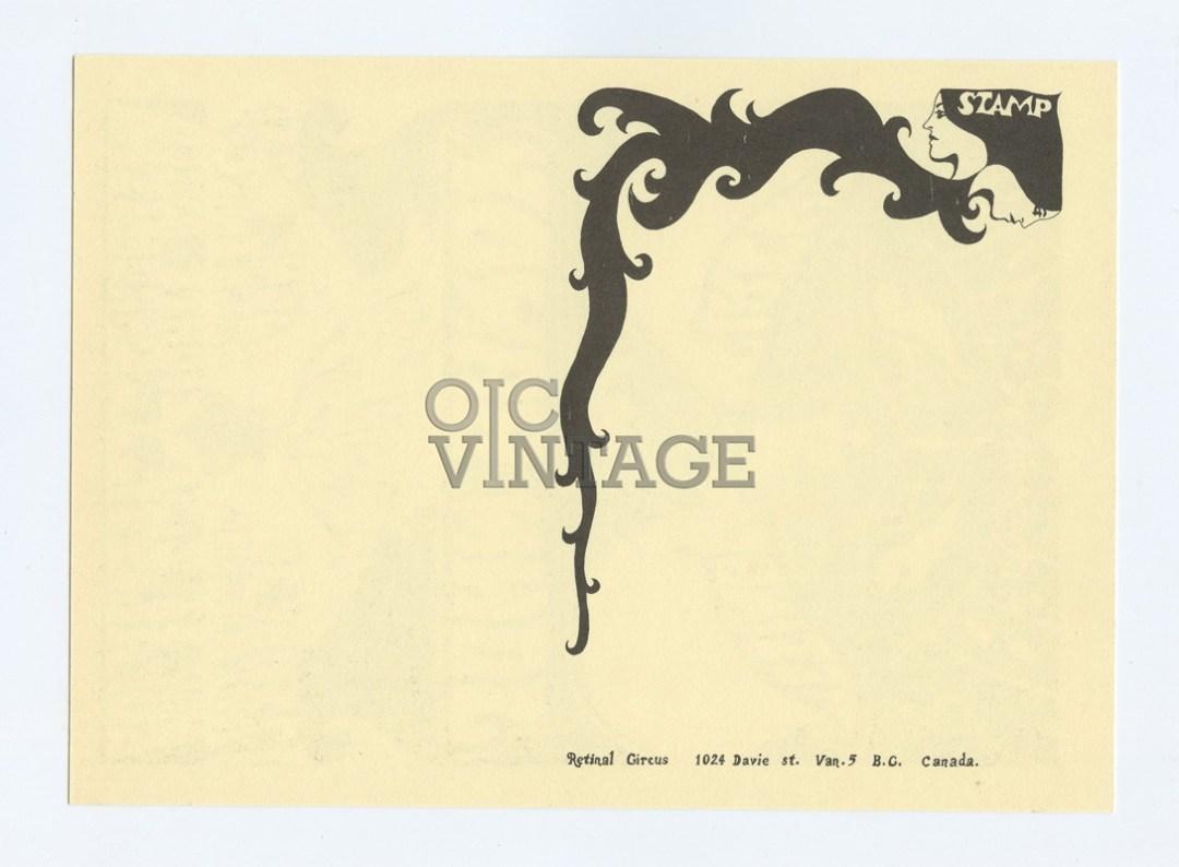 Retinal Circus Postcard 1968 May 30 John Handy My Indole Ring Vancouver Canada