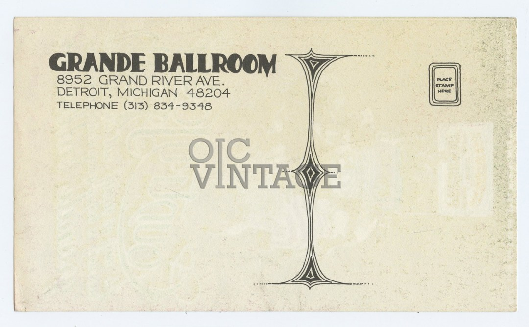 Grande Ballroom Postcard 1968 Aug 16  Country Joe & the Fish AOR 3.156