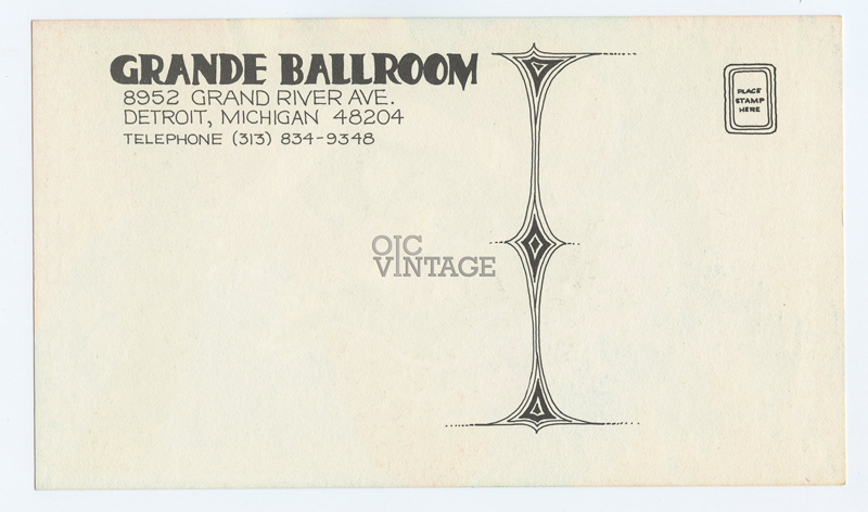 Grande Ballroom Postcard 1968 Dec 6 Canned Heat Hamilton Face AOR 3.146