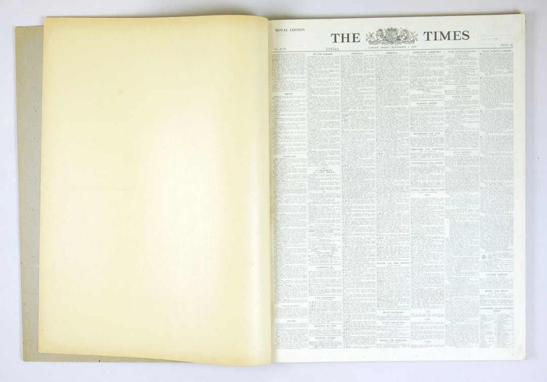 LONDON Times 1939 September Bound Books set of 2 The Beginning of World War II