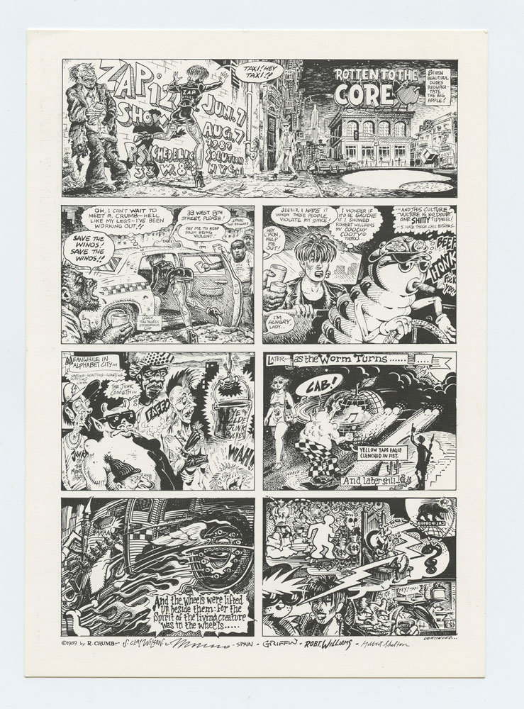Rotten to The Core 1989 Postcards set of 2 Robert Crumb Wes Wilson Rick Griffin Victor Moscoso Williams Spain Shelton