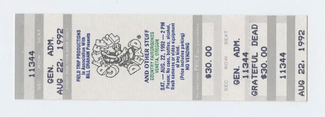 Grateful Dead Ticket 1992 Aug 22 County Fairgrounds Veneta Oregon Unused