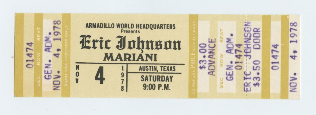 Eric Johnson Ticket 1978 Nov 4 Armadillo World Headquaters Austin TX Unused