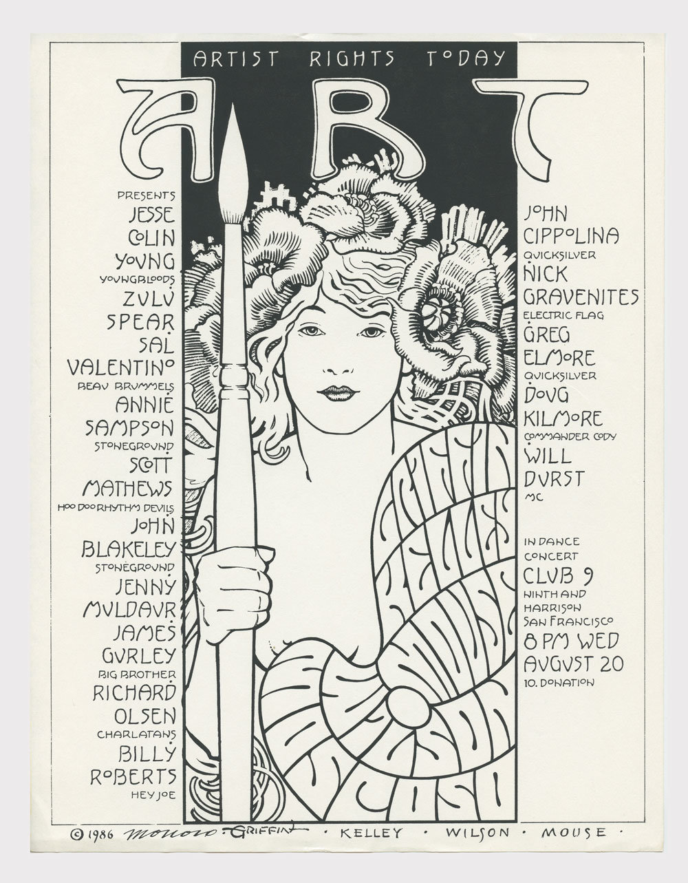 Artist Rights Today Benefit Handbill 1986 Aug 20 Club 9 Victor Moscoso Rick Griffin & more