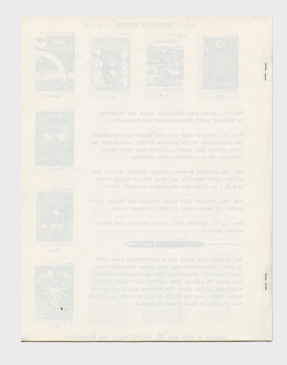 Artist Rights Today Benefit Information Pamphlet 1986 Victor Moscoso Wes Wilson Rick Griffin Stanley Mouse Alton Kelley