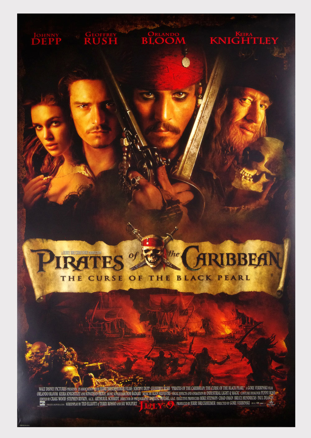 PIRATES OF THE CARIBBEAN Poster 2003 Johnny Debb 27 x 40 Double Sided