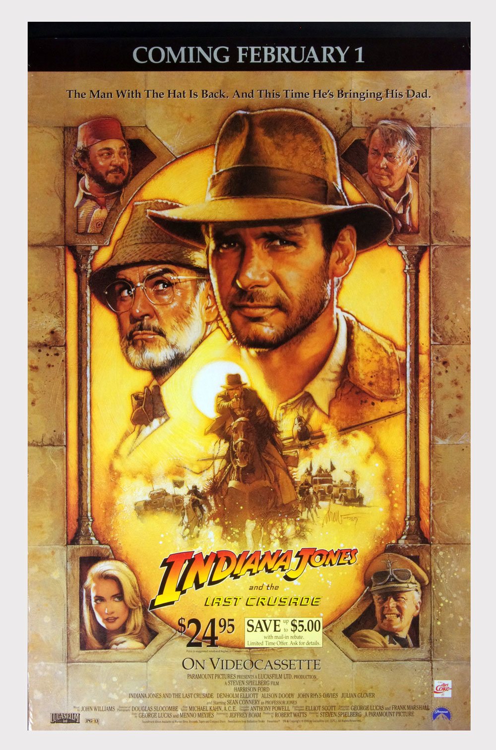 Indiana Jones and the Last Crusade Poster 1989 Harrison Ford Home Video Promo 27 x 42