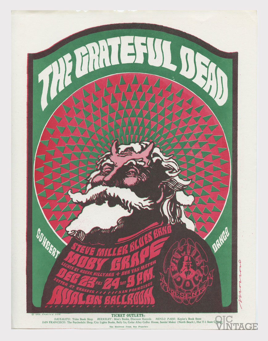 Family Dog 040 Handbill Hippie Santa Claus 1966 Dec23 Grateful Dead Steve Miller