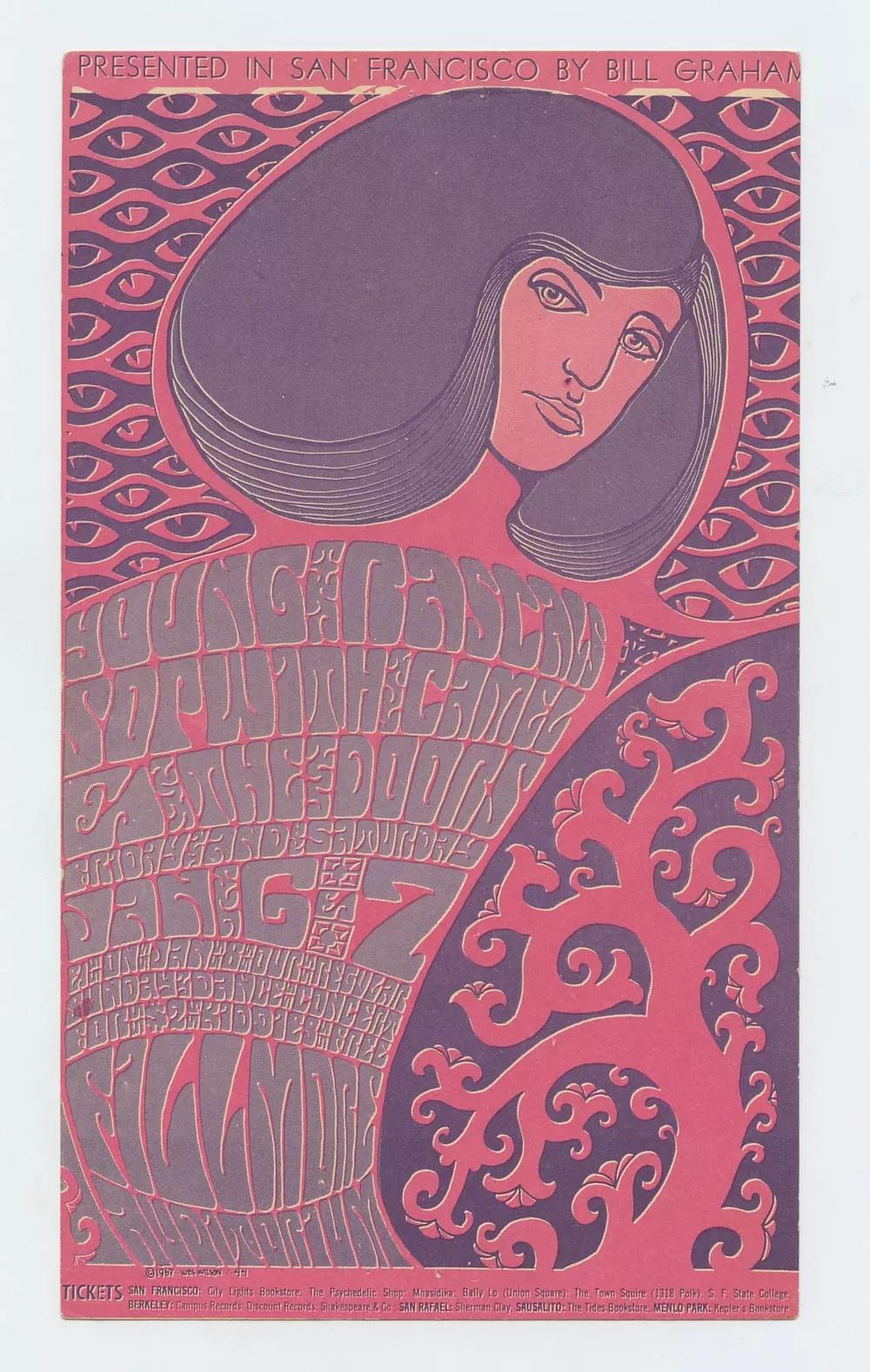Bill Graham  44 Handbill The Doors Young Rascals Sopwith Camel 1967 Jan 6