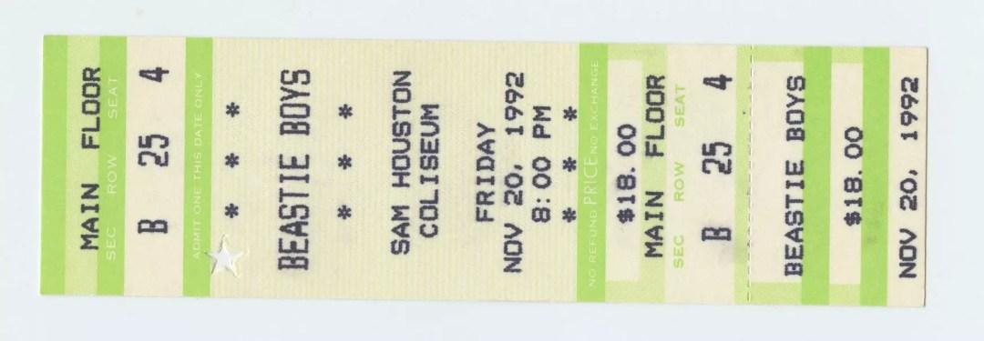 Beastie Boys Ticket 1992 Nov 20 Sam Houston Coliseum Unused