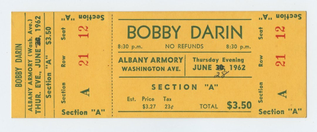 Bobby Darin Ticket 1962 Jun 28 Albay NY Unused