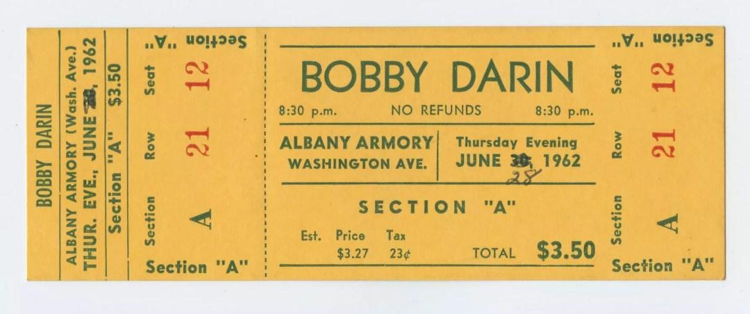 Bobby Darin Ticket 1962 Jun 28 Albay NY Unused