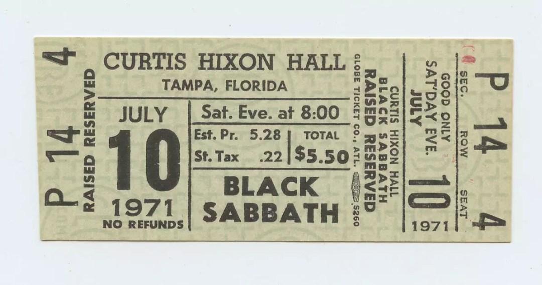 Black Sabbath Ticket 1971 July 10 at Curtis Hixon Hall Unused