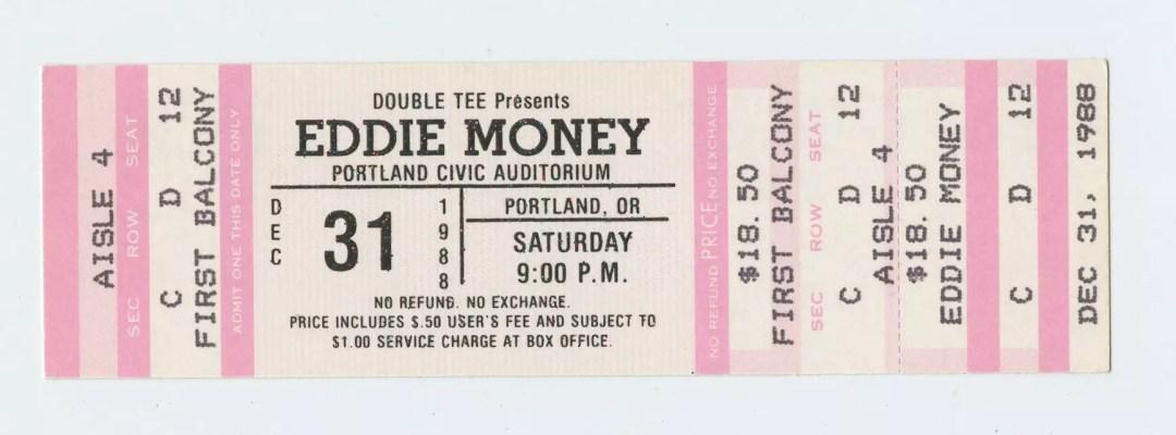 Eddie Money Ticket 1988 Dec 31 Starry Night Portland Unused