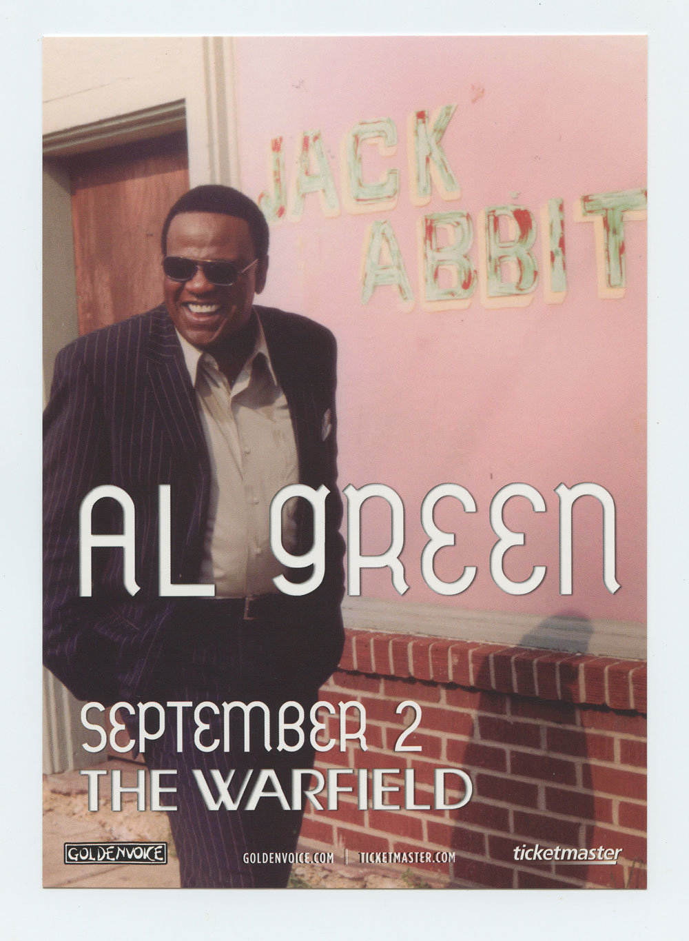 Al Green Handbill 2009 Sep 2 The Warfield San Francisco Promo