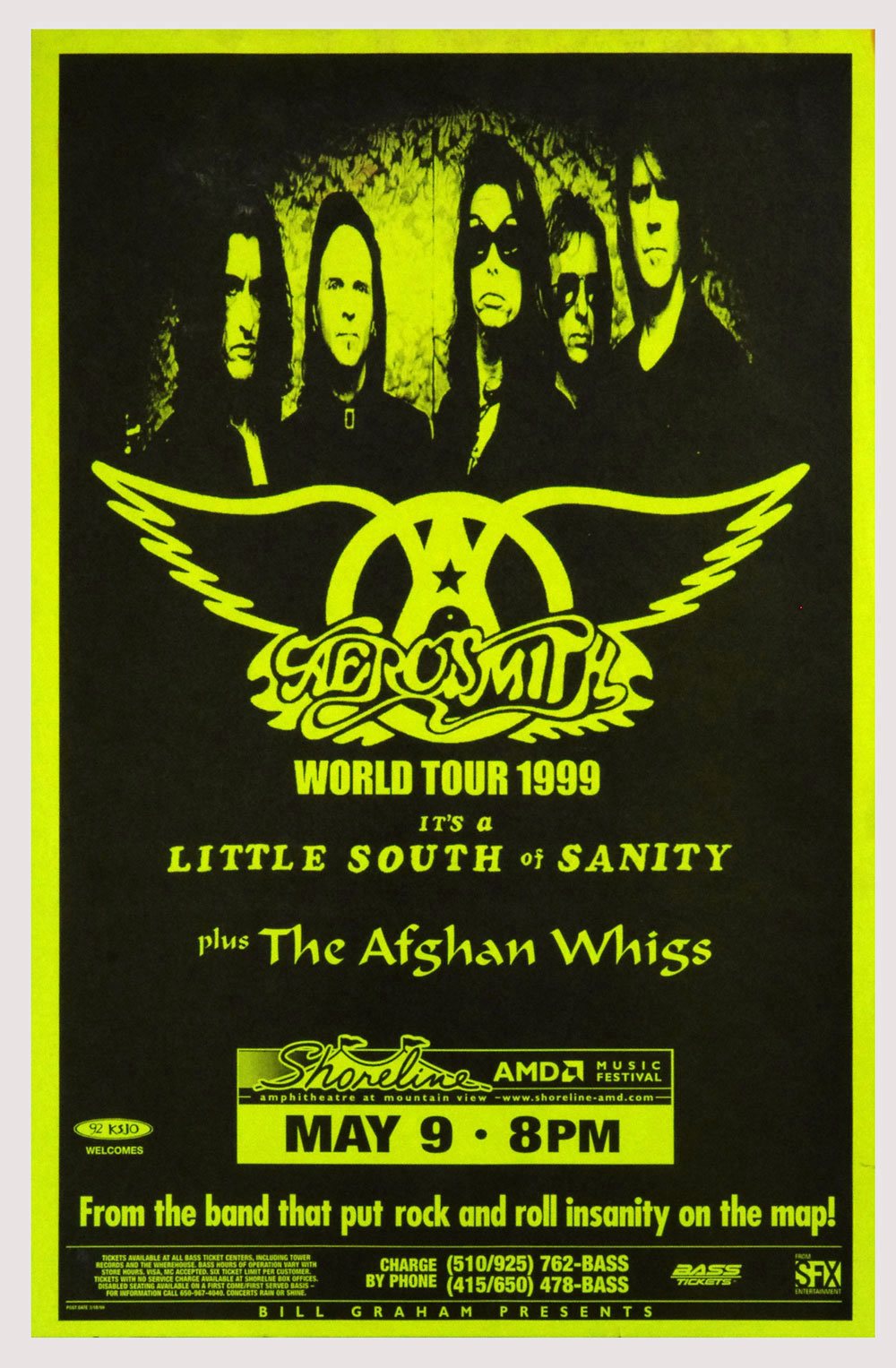 Aerosmith Poster World Tour 1999 May 9 Shoreline Amphitheatre