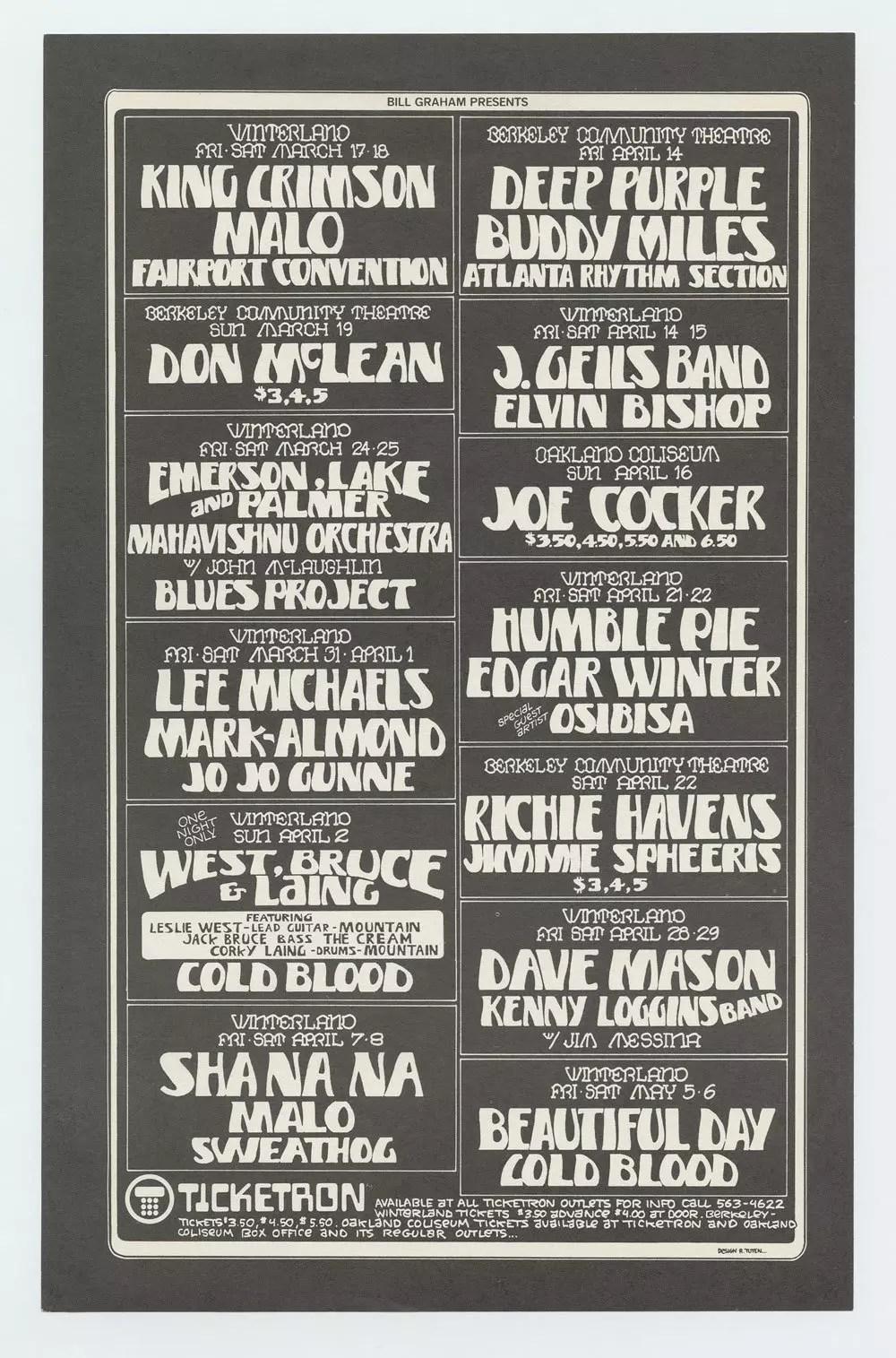 Bill Graham Presents Flyer 1972 Mar thru May King Crimson Buddy Miles