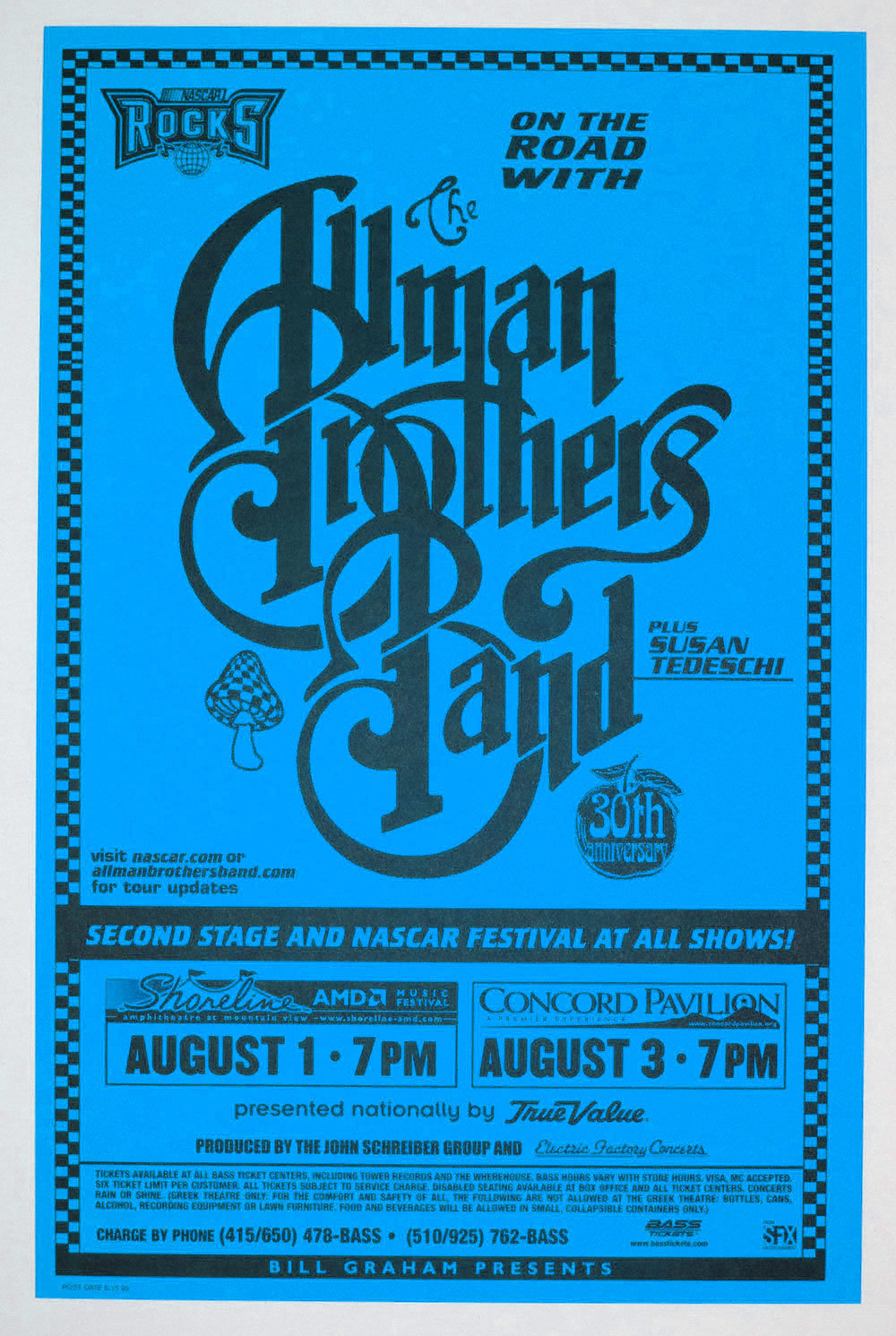 Allman Brothers Band Poster 1999 Aug 1 Shoreline Amphitheatre