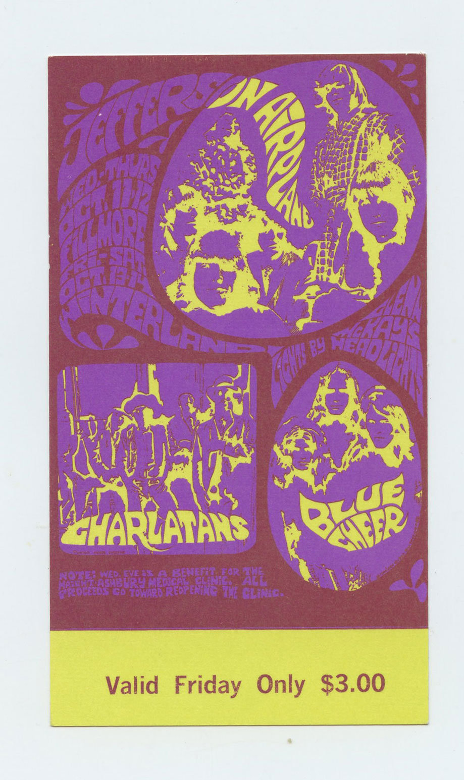 Bill Graham 88 Ticket Jefferson Airplane Charlatans Blue Cheer 1967 Oct 11