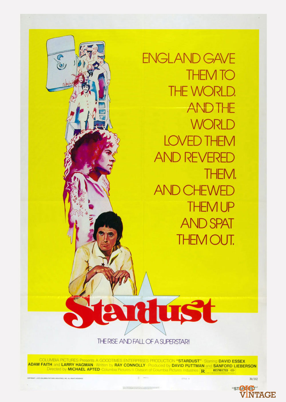 Stardust Movie Poster 1974 David Essex Adam Faith  27 x 41 1 Sheet