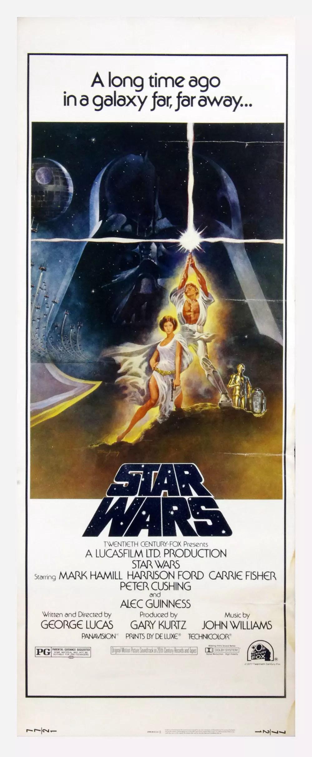 Star Wars A New Hope 1977 Vintage Orginal Movie Poster 14 x 36