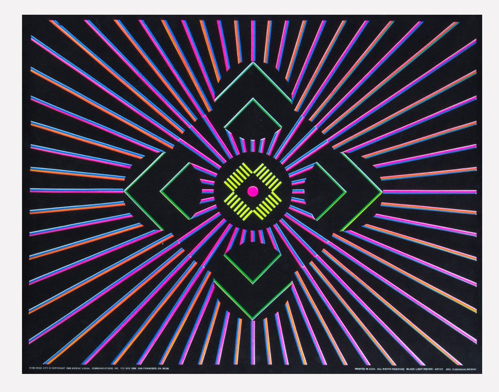 Edge City Poster Black Light Psychedelic 22 x 28 Joel Rubenzahl 1969