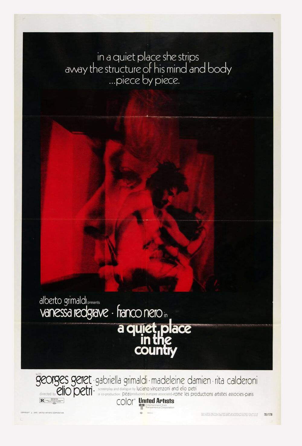 A Quiet Place in the Country Movie Poster 1970 Vanessa Redgrave Franco Nero 27 x 41